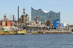 Blick über den Grenzkanal / Steinwerder Hafen zu Industrieanlagen in Hamburg Steinwerder - im Hintergrund das Gebäude der Elbphilharmonie.