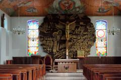 Innenansicht der Dorfkirche von Ziegenort /  Trzebież