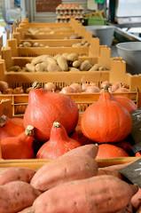 Marktstand auf dem Wochenmarkt Straßburger Platz in Hamburg Dulsberg, Süßkartoffeln / Batate und Kürbissen in der Auslage.