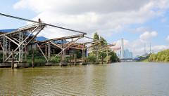 Krananlage und Eisendalben als Liegeplatz für Binnenschiffe zum Löschen der Ladung am Ufer des Moorfleeter Kanals in Hamburg Billbrook; im Hintergrund das Kraftwerk Tiefstack.