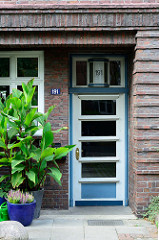 Unter Denkmalschutz stehender Siedlungsbau in der Alsterdorfer Straße von Hamburg Alsterdorf. Backsteingebäude / Wohngebäude wurden 1929 errichtet - Architekten Friedrich Steineke + Johannes Voth.