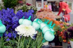 Wochenmarkt im Hamburger Stadtteil Bramfeld, Herthastraße - Blumenstand  mit Chrysanthemen, die Blüten sind teilweise mit einem Netz geschützt.
