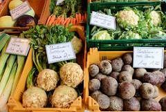 Wochenmarkt auf dem Burchardplatz im Kontorhausviertel in dem Hamburger Stadtteil Altstadt. Gemüsestand mit Vierländer Gemüse: Porree, Sellerie, Rote, Beete, Möhren und Blumenkohl