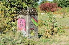 Massive Betonpoller / Reste des Truppenübungsplatzes in Höltigbaum - Hamburg Rahlstedt - sind mit bunter Graffiti versehen, im Hintergrund ein Busch mit roten Herbstfrüchten.