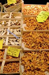 Gemüsestand mit Pilzen auf dem Wochenmarkt im Hamburger Stadtteil Hamm.