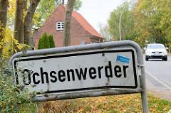 Ortsschild  / Stadtteilgrenze von Hamburg Ochsenwerder.