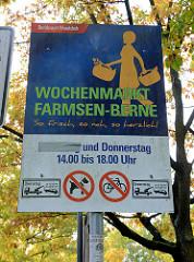 Informationsschild Bezirksamt Hamburg Wandsbek - Wochenmarkt Farmsen-Berne.