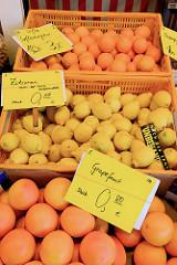 Markstand mit Obst  auf dem  Wochenmarkt bei der Sankt Katharinenkirche im  Hamburger Stadtteil Altstadt. Saftorangen, Zitronen und Grapefruit liegen zum Verkauf bereit.