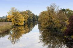 Lauf der Gooseelbe im Hamburger Stadtteil Kirchwerder, Bäume mit gelbem Herbstlaub stehen am Ufer des Flusses.