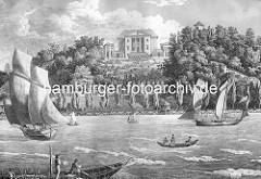 Historische Ansicht der Elbe bei Ottensen / Altona; Frachtsegler und Ruderboote auf dem Wasser.  Auf dem Elbhang das Gebäude von Rainvilles Gasthof mit Garten; Architekt vom Landhaus  Christian Frederik Hansen.