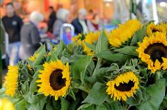 Wochenmarkt in Hamburg Uhlenhorst / Immenhof - Marktstand mit Blumen, Sonnenblumen.
