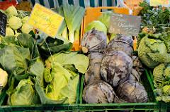 Wochenmarkt im Hamburger Stadtteil Rahlstedt, Rahlstedter Bahnhofstraße; Gemüsestand mit Vierländer Spitzkohl und Rotkohl / Weisskohl.