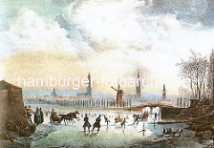 Historisches Hamburg - Hamburgensie vom Hamburger Winter ca. 1830