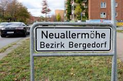 Stadtteilgrenze, Schild Neuallermöhe - Bezirk Hamburg Bergedorf.