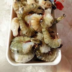 Fischstand  auf dem Wochenmarkt in Hamburg Finkenwerder, Finksweg; Garnelenschwänze liegen in einer Schale.