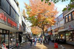 Fußgängerzone im Zentrum von Hamburg Neugraben, Herbstbäume in der Marktpassage.