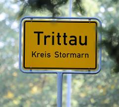 Stadtgrenze, Schild Trittau - Kreis Stormarn.