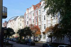 Etagenhäuser / Wohnhäuser im Reiherstiegviertel  von Hamburg Wilhelmsburg.