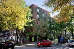 Baudenkmal im Hamburger Stadtteil Wilhelmsburg, Etagenhaus mit Klinkerfassade in der Fährstraße - Siedlungsbau errichtet um 1930.