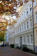 Historische  Mehrfamilienhäuser in der Baererstraße im Hamburger Stadtteil Harburg, errichtet um 1880 / 1901.