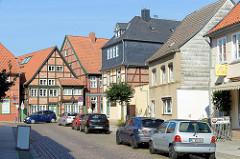 Historische Architektur,  Wohn und Geschäftshäuser in der Königstraße / Klingbergstraße von Boizenburg / Elbe.