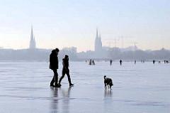 Winter in der Hansestadt Hamburg - Spaziergänger mit Hund auf der zugefrorenen Alster.