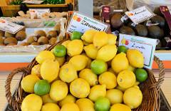 Marktstand  mit Obst und Gemüse  auf dem Wochenmarkt in Hamburg Finkenwerder, Finksweg; großer Korb mit Zitronen und Limetten.