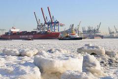 Hamburger Jahreszeiten  - Hafen im Winter - Treibeis + Eisschollen.
