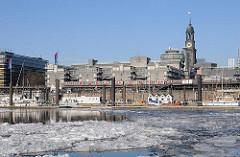 Bilder von Hamburg im Winter - blauer Winterhimmel am Niederhafen.