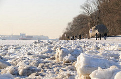 Hamburg-Bilder vom Winter - Elbufer mit Eisschollen.