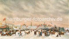 Hamburgensien - historische Hamburg Motive; Zelte auf der zugefrorenen Elbeca. 1840.