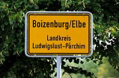 Stadtschild, Stadtgrenze Boizenburg/Elbe, Landkreis Ludwigslust-Parchim.