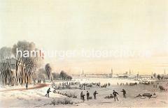 Historisches Hamburg-Motiv - Hamburgensie, Winter an der Aussenalster in Hamburg; ca.1850.