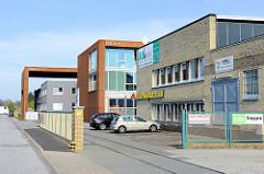 Modernen Architektur an der Jaffestraße  auf dem Gelände der ehemaligen Palminfabrik in Hamburg Wilhelmsburg.