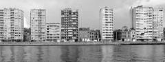 Blick über die Maas auf den Quai Saint-Léonhard in Lüttich / Liège. Einstöckige Altbauhäuser der Gründerzeit stehen zwischen Hochhäusern am Ufer der Maas.