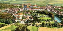Alte colorierte Fotografie von Krumau an der Moldau - Český Krumlov - historisches Panorama der Stadt.