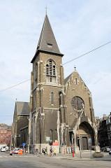 Katholische Kirche Saint Pholien in Lüttich / Liège; 1914 im neugotischen Baustil errichtet, Architekt  Edmond Jamar.