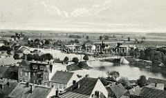 Historische Ansicht vom Blick auf die Alte Oder  und die Bogenbrücke bei Oderberg.