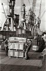 Zwei Hafenarbeiter legen das Ladegeschirr an eine Palette mit Kisten an  - im Hintergrund fahren zwei Gabelstapler mit ihrer Ladung über die Laderampe am Togokai des Hamburger Südwesthafens.