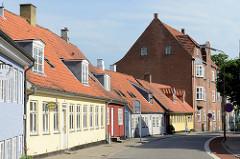 Wohnhäuser in  der Blågårdsstræde in Roskilde; ursprüngliche Straßenbebauung aus dem 19. Jahrhundert.