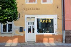 Ehemalige Apotheke in Oderberg, jetzt Nutzung als Antik-Geschäft.