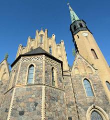 St. Nikolaikirche in Oderberg, neugotischer Backsteinbau, errichtet von 1853 bis 1855; Architekt F. A. Stüler.