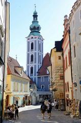 Blick vom Latrán-Viertel in Krumau an der Moldau / Český Krumlov auf den Kirchturm der ehemaligen Sankt Jobstkirche.