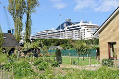 Hafen für Kreuzfahrtschiffe in Seebrügge, kleine Wohnhäuser mit Gartenhaus, dahinter die Aufbauten eines am Kai liegenden Kreuzfahrtschiffs.