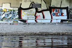Graffiti am Brückenträger der Autobahnbrücke Hohenschöpping über die Havel; Der Sinn des Lebens: produzieren, konsumieren, krepieren.
