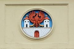 Wappen der Hansestadt Havelberg am Rathaus.