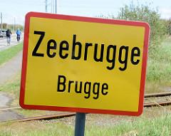 Ortsschild von Zeebrugge / Brugge.