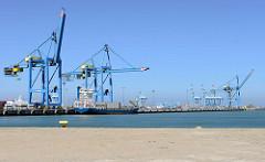 Panoramablick wie die Hafenanlage mit den Hafenkränen in Zeebrugge - ein leerer Containerfrachter liegt am Kai.