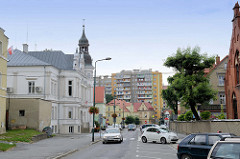 Zentrum von Langenbielau / Bielawa; Wohnhäuser in unterschiedlichen Baustilen.
