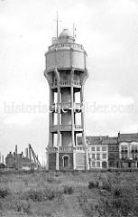 Historisches Bild vom alten Wasserturm der Stadt Seebrügge.